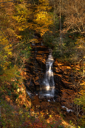 Oct 20th,  At the end of a 9 hour drive from Maryland to Western North Carolina, I stopped at a road side waterfall.  Not as easy as it sounds to get to and photograph, but I couldn't pass it up at this time of the day!  Soco Falls, between Maggie Valley and Cherokee, NC