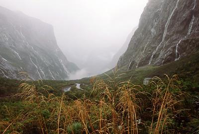 Milford Sound near Homer Tunnel, following heavy rain, South Island