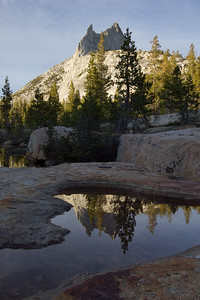 Approaching sunset at the outlet to Upper Cathedral Lake