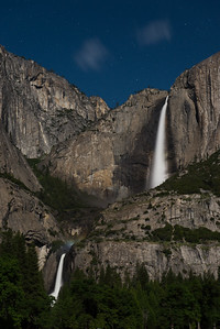 "Upper & Lower Yosemite Falls - note the ""moonbow"" in the mist above the Lower Falls"