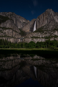 Upper & Lower Yosemite Falls reflected in a Valley pond