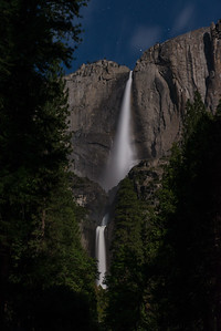 Upper & Lower Yosemite Falls by Moonlight