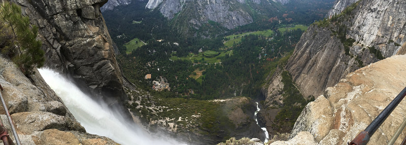 Snowmelt pouring from the top of Yosemite Falls