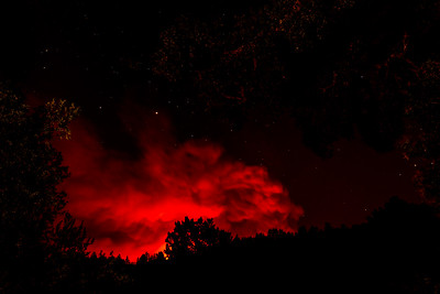 By that evening, the fires cast an eerie red glow over the hills (Portola Valley)