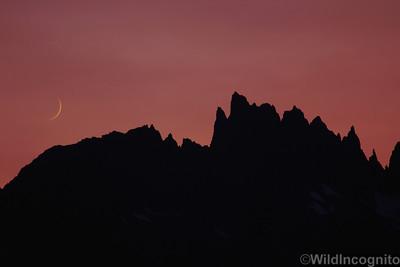 Minarets Crescent Moon Ansel Adams Wilderness