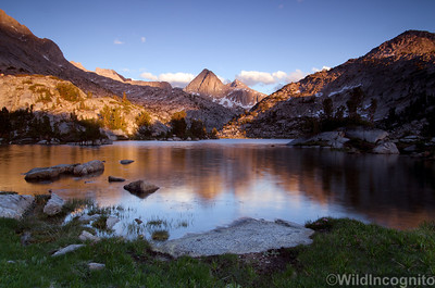 Alpenglow on Mount Spencer and Evolution Lake John Muir Trail
