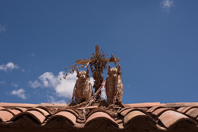 These bulls originate from Pucará, but are popular as good-luck rooftop ornaments all over Perú