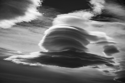 The lenticular clouds on the border between Argentina and Chile evoke flying saucers