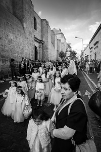 The flower girls had close chaperones, and a fellow with a garbage bag full of flower petals to refill their baskets