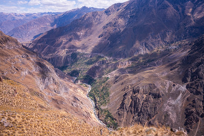 Colca Canyon is on of the world's deepest canyons, measuring 3,270 metres (10,730 ft) from top to bottom. By contrast, the Grand Canyon of the Colorado River is 1,857 metres (6,093 feet).