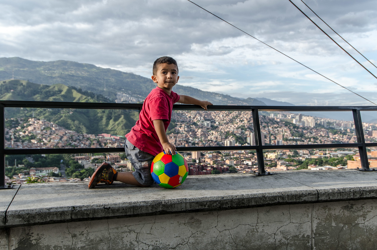 Comuna trece  were the kids like to play soccer just as much as the kids in Germany.