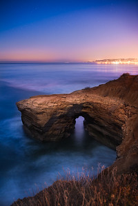 "Moonlit Memories: Sunset Cliffs - 16x24"" matted and framed to 25x33""- $650"