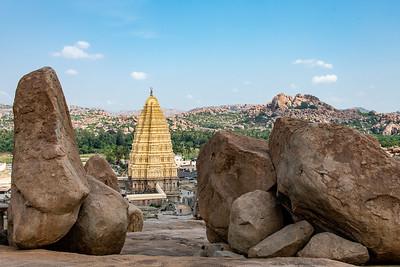 Virupaksha temple with the 9 story gopuram dedicated to Hanuman.