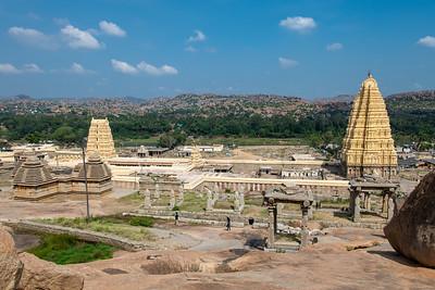 Virupaksha temple with the 9 story gopuram dedicated to Hanuman and a smaller gopuram inside.