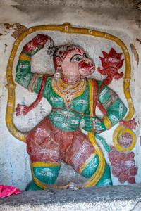 Hanuman inside the Sri Hanuman Mandir.
