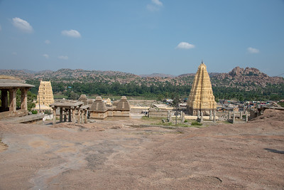 Standing on Hemakuta Hill looking down on the Virupaksha temple (1336-1565) complex dedicated to Shiva and where he was said to have married Parvati.