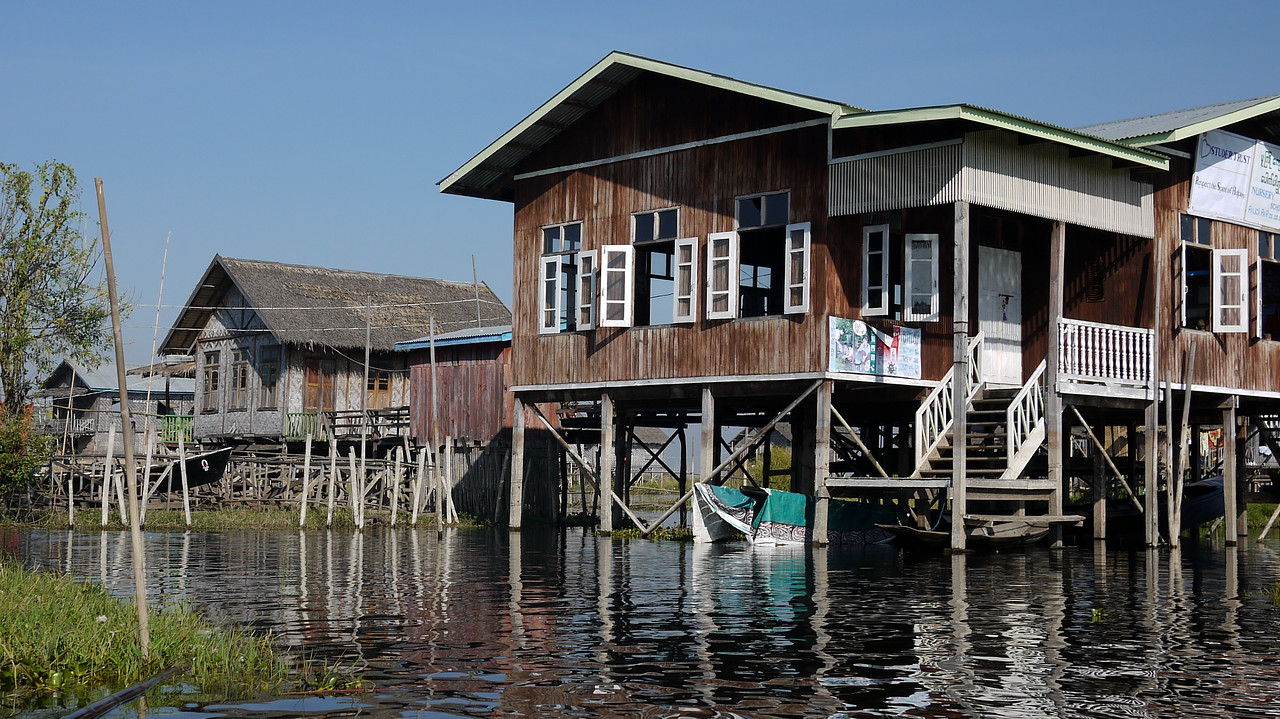 Raised houses on Inle Lake, Burma (Myanmar).