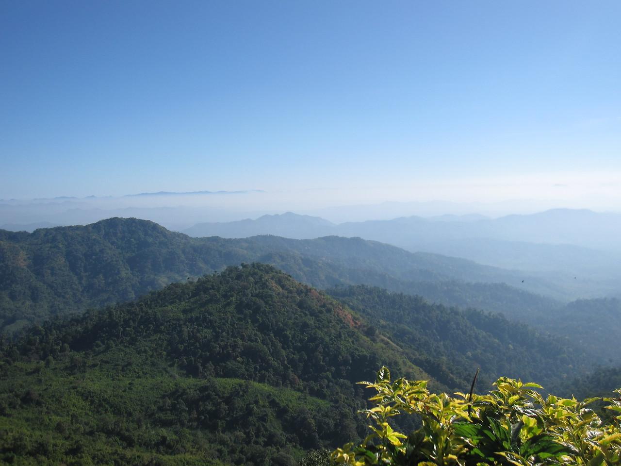 The beautiful landscape around Kyaiktiyo, the Golden Rock, in Burma.