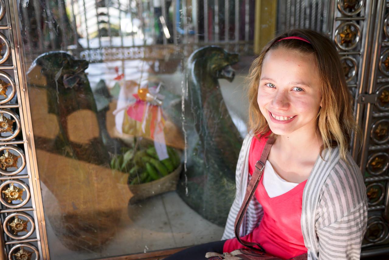 Ana and the spirits at Mandalay Hill, Burma.
