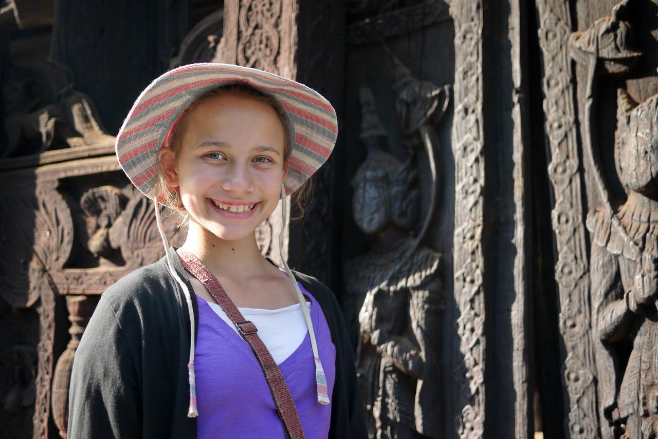 Intricate teak designs at the Bagaya Kyaung Monastery on Innwa (Ava) near Mandalay.