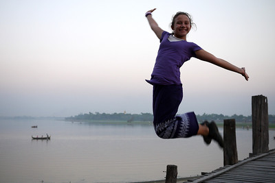 Ana executes a jumping shot from U Bein Bridge near Mandalay.