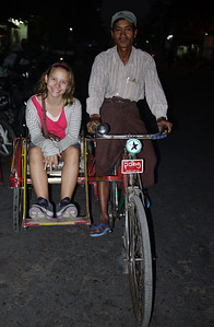 Riding in a bicycle trishaw in Mandalay.
