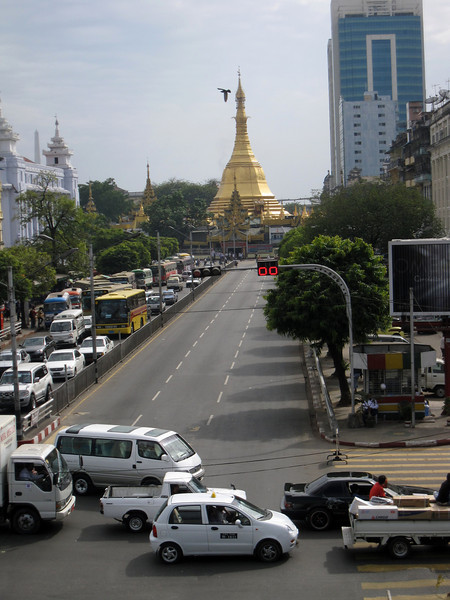 Sule Paya surrounded by so much traffic in Yangon, Myanmar (Burma)