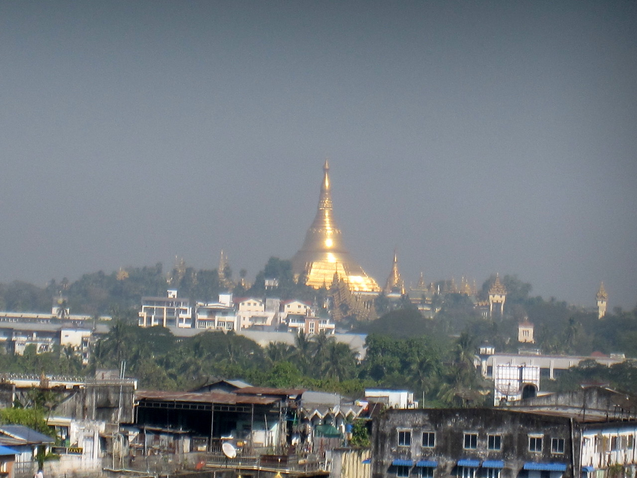 Shwedagon Paya is huge in the distance from the White House hotel in Yangon, Myanmar (Burma)