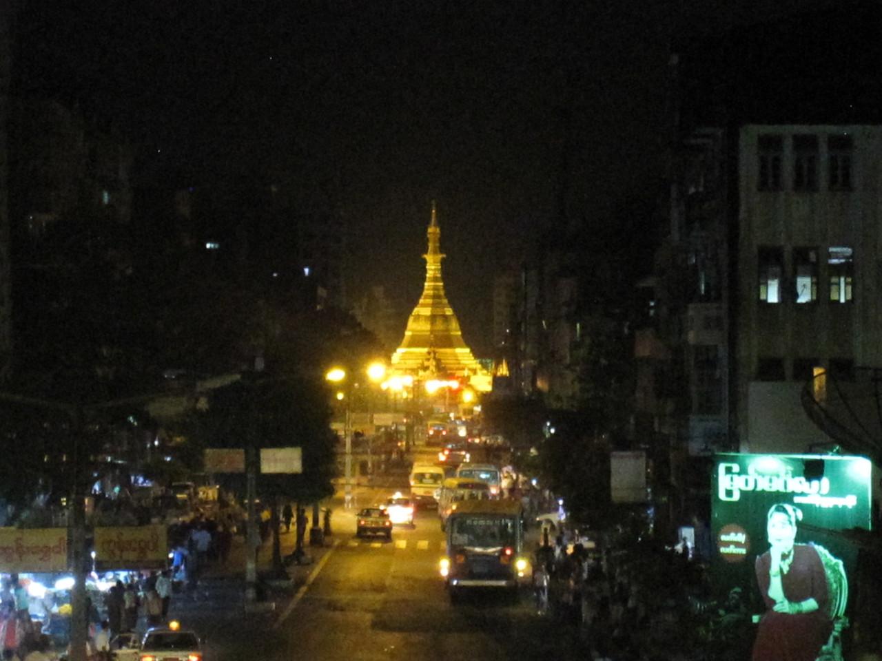 The beautiful Sule Paya lit up at night in Yangon, Myanmar (Burma)