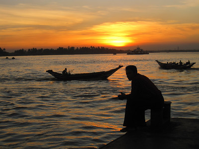 A man at sunset in Yangon, Myanmar (Burma)