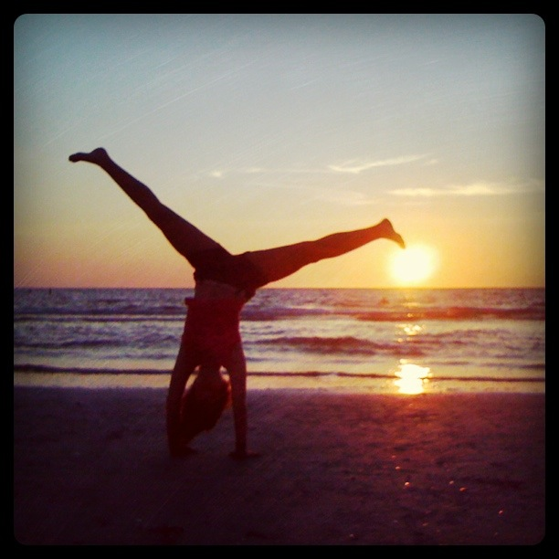 Sunset cartwheel on Indian Rocks Beach in St. Petersburg, Florida.