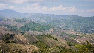 Panoramic views from the back of the pickup truk heading to Akha Ama coffee village near Chiang Mai, Thailand.