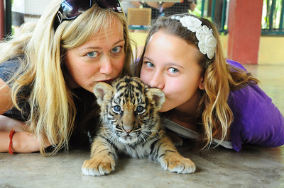 Dani and I kissing behind the baby tiger's ears, the baby tiger doesn't seem so thrilled about it though.