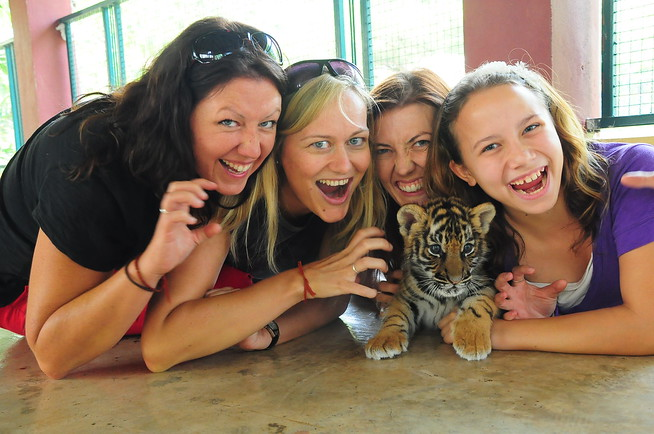 Jess, Dani, my Aunt Shannon and me at Tiger Kingdom, we were meaner than the tigers!