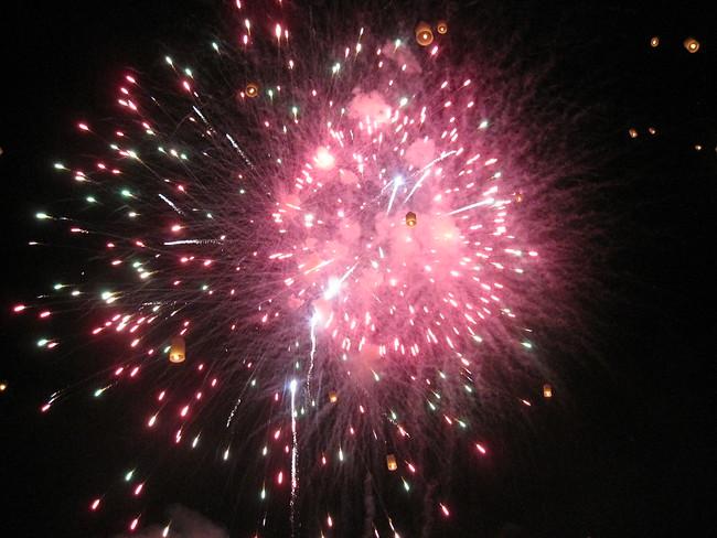 fireworks and lanterns Loy Krathong