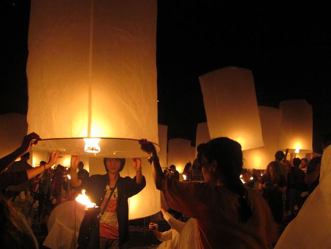 Loy Krathong lanterns, Mae Jo, Thailand