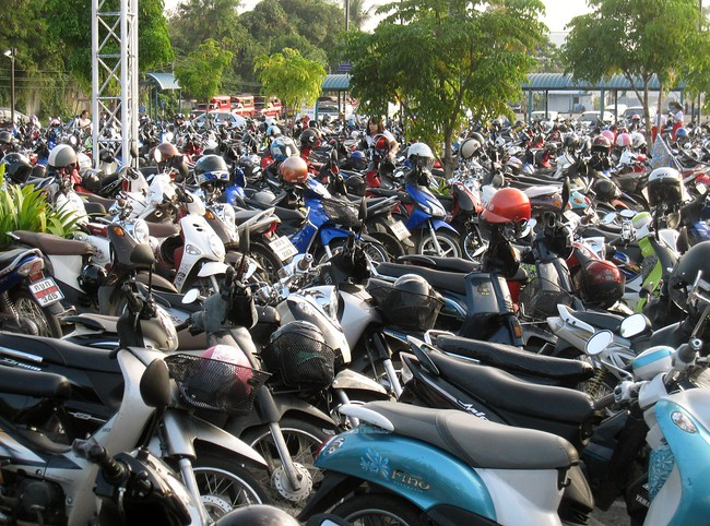 A sea of motorbikes