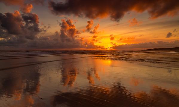 Solnedgang over Feistein Fyr