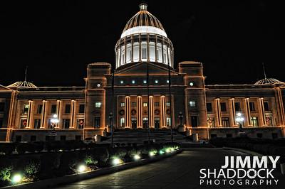 Arkansas Capital Building at Christmas with Lights