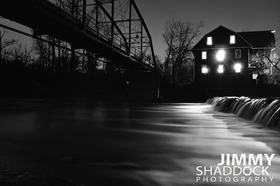 Early Morning at War Eagle Mill Black and White
