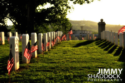 Early Morning Flags at National Cemetary
