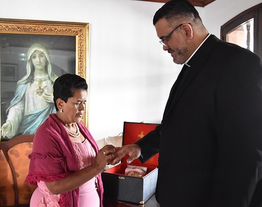 Fr. Juancho's mother gives him a ring for his ordination
