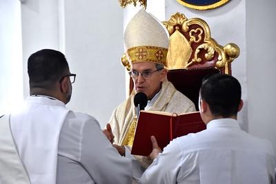 Fr. Juancho before the bishop