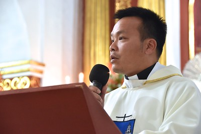 In the name of the US Province Fr. Duy presents Fr. Juancho to the bishop