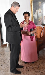 The bishop with Fr. Juancho's mother