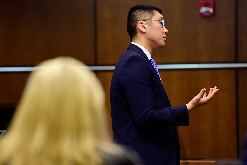 . BOULDER, CO - MARCH 12:Public defender Sam Dunn speaks during opening statements in the trial of Juan Jose Figueroa Jr. at the Boulder County Justice Center in Boulder on March 12, 2019. (Photo by Matthew Jonas/Staff Photographer)