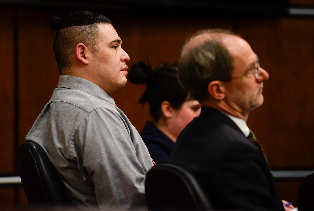 . BOULDER, CO - MARCH 12:Juan Jose Figueroa Jr. appears with his defense team during opening statements at the Boulder County Justice Center in Boulder on March 12, 2019. (Photo by Matthew Jonas/Staff Photographer)