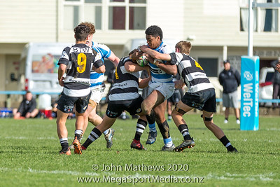 Images taken on 11 July 2020 at the Rugby match between St Patrick's College Silverstream (Blue) and New Plymouth Boys High School (Black) held at St Patrick's College Silverstream, Heretaunga, Wellington, New Zealand.   Final Score: Stream 31 NPBHS 32