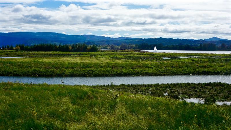 Sailboat plying the Columbia River