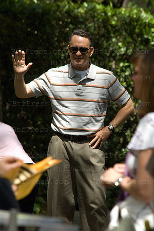 Julia Roberts and Tom Hanks during the set of Larry Crowne in Pasadena,California.